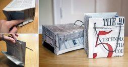 Embalagem de presente reciclada feita com jornal