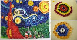 Artesanato com tampinhas de garrafas pet: Mosaico