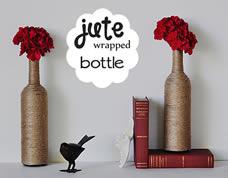 Decoração criativa com garrafas de vidro e fio de juta