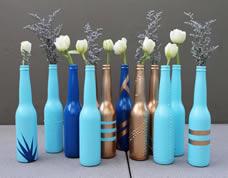 Decoração criativa com garrafas recicladas