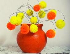 Arranjo com flores de lã para decorar a casa