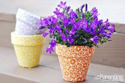 Vaso de plantas decorado com tecido
