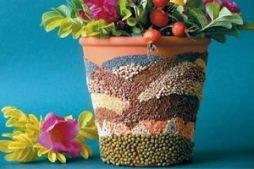 5 passos para fazer um mosaico de sementes em vaso de planta