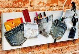 Porta-trecos criativo feito com jeans