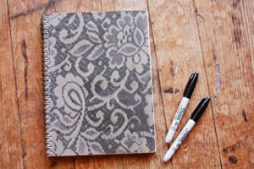 Capa de caderno personalizada com renda