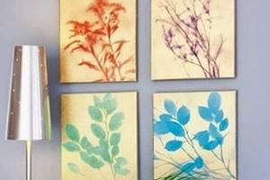 Quadro de folhas com tinta spray – faça você mesmo