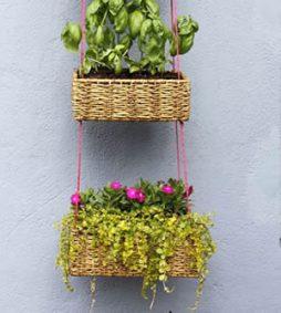 Jardim suspenso feito com cestos – decore a área externa da sua casa