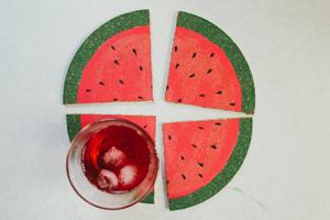 Descanso de copo em formato de melancia – Faça você mesmo