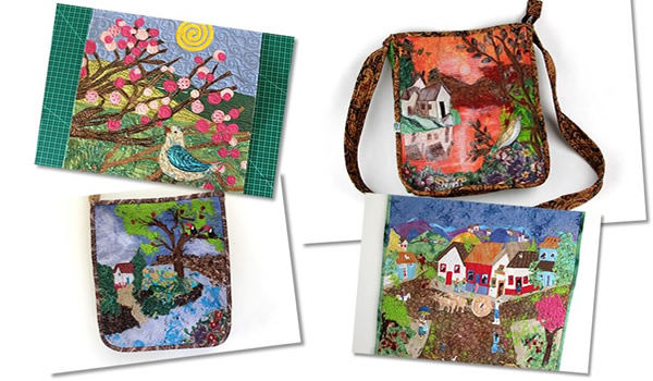 montagem de paisagens com tecido