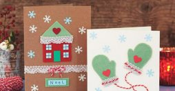 Modelos de cartões com feltro para o Natal