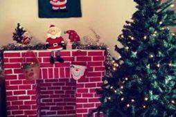 Lareira decorativa para o Natal feita com caixas de papelão