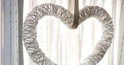 Como fazer coração decorativo com barbante