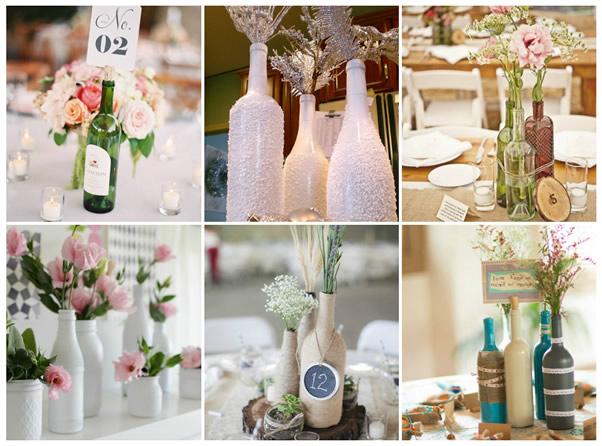 decoração casamento com garrafas