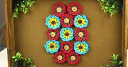 Flor de Crochê Passo a Passo com Montagem de um Quadro