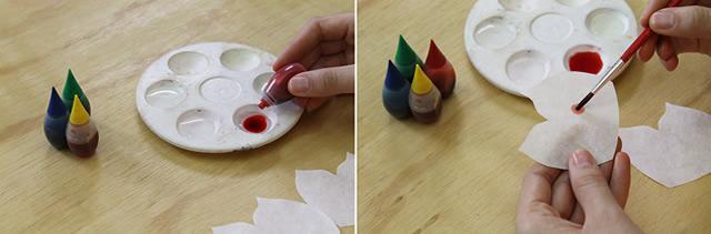 Pintando filtro de café para confecção de flor
