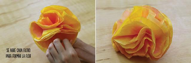 Finalização de flor com filtro de café redondo