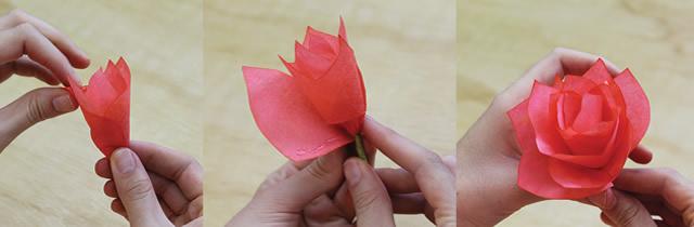 Finalização de flor artesanal com filtro de café