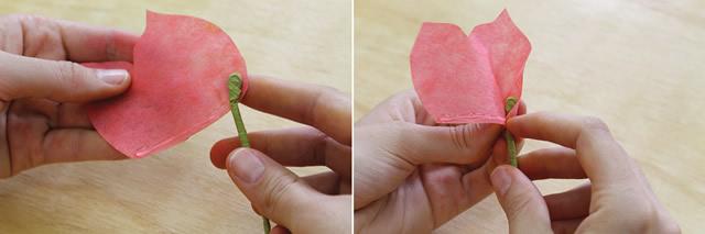 Montagem da rosa com filtro de café