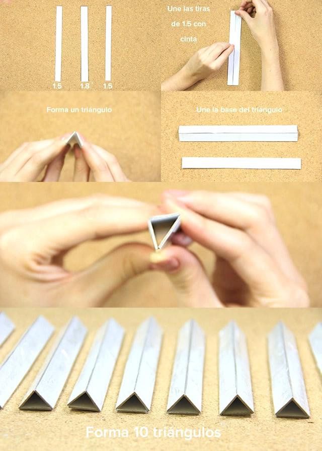 Monte triângulos com as tiras de papel casca de ovo