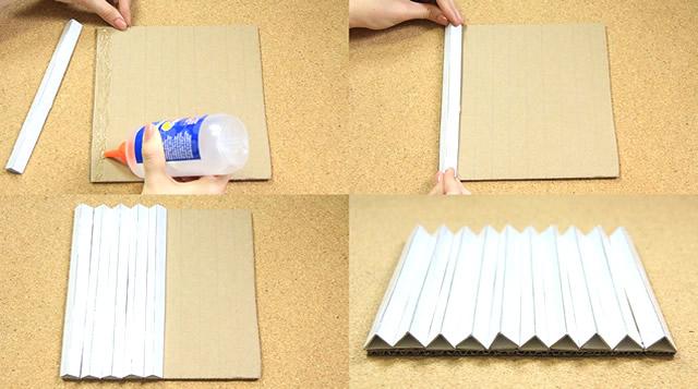 Fixe os triângulos na base de papelão do quadro