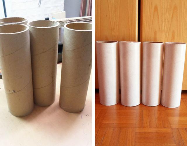 Corte os tubos de papelão em 25 cm