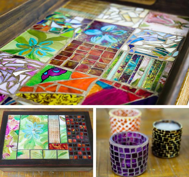 Peças produzidas no curso de mosaico com vidros pintados à mão
