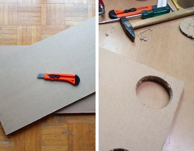 Nos retângulos corte um círculo em cada ponta