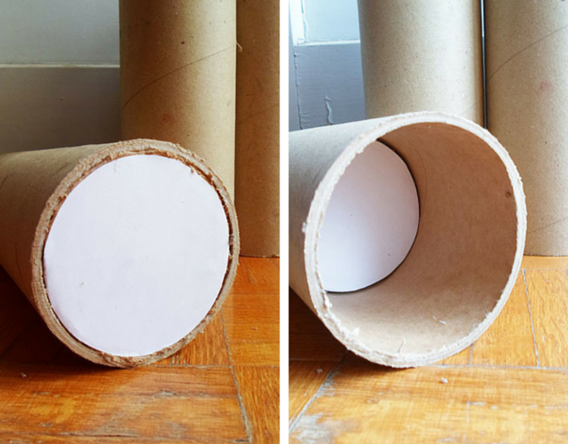 Encaixe os discos no interior dos tubos de papelão