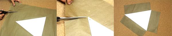 Corte os excessos do papel de seda em volta do triângulo