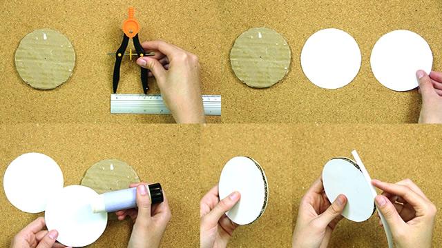 Corte um círculo e revista com cartolina branca para se a base da jaula