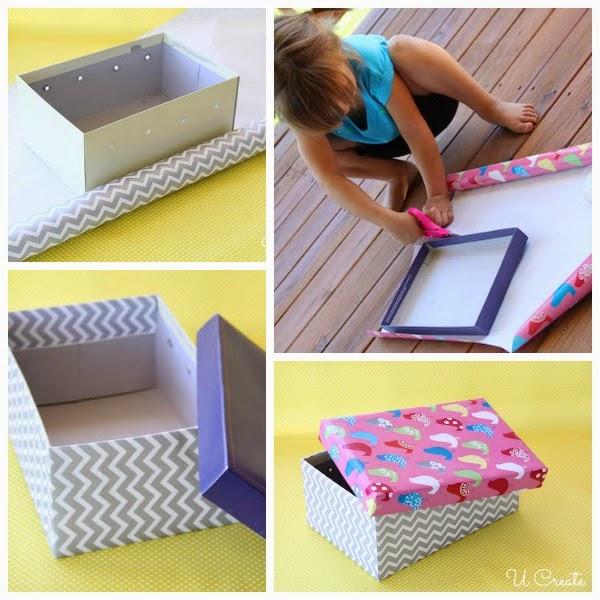 Embrulhe a caixa de sapato com papel estampado