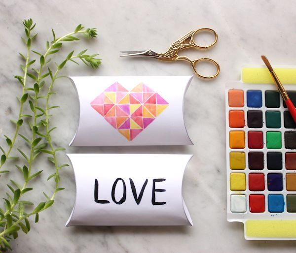 printable watercolor heart pillow boxes