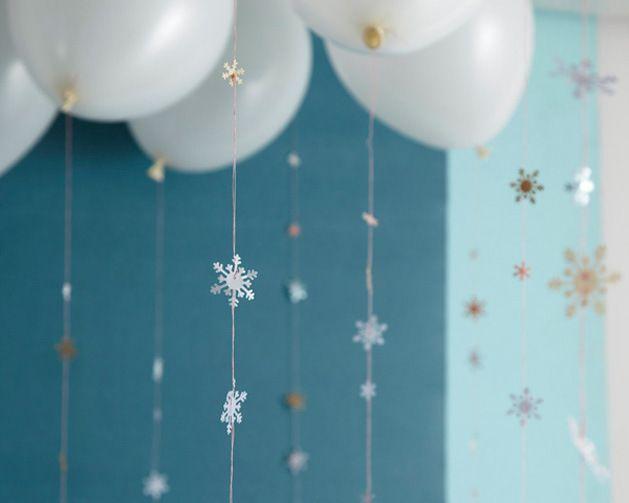 decoração com balão festa tema frozen