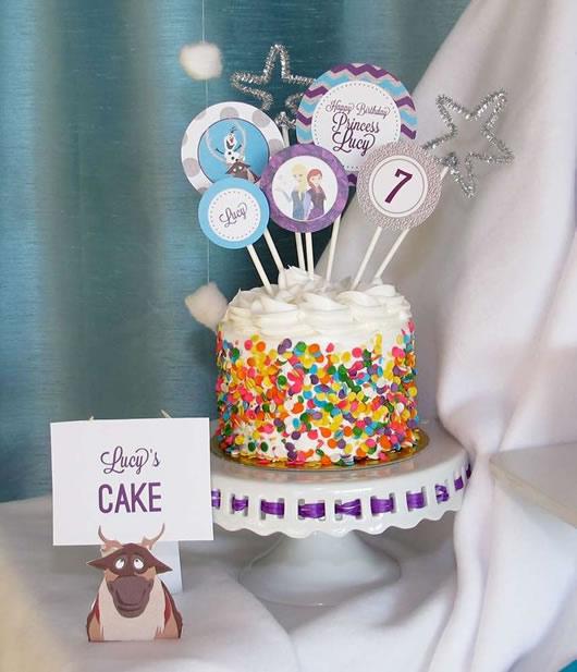bolo festa tema frozen