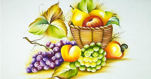 Cesta de frutas pintada em tecido