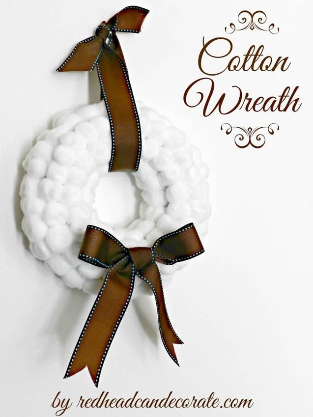 Guirlanda de natal com bolinhas de algodão 1
