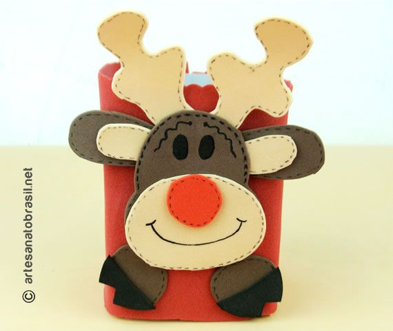 lembrancinha para o natal de EVA e caixa de leite