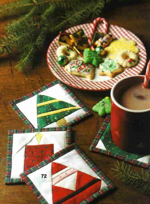 porta copos em patchwork de natal