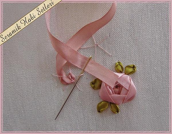 rosa de fitas passo a passo - bordado com fitas