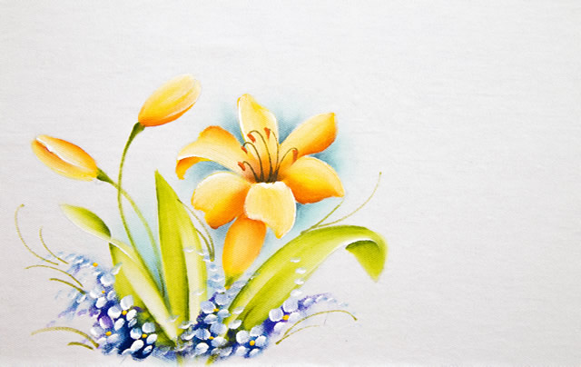 pintura em pano de prato lírio