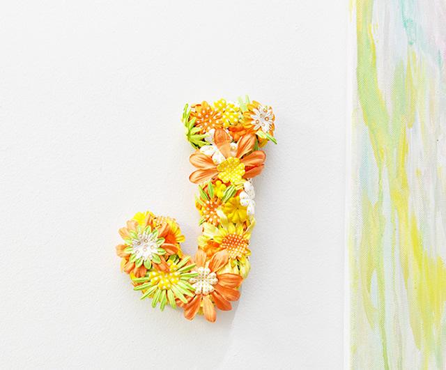 letra decorada com flores - painel para festas