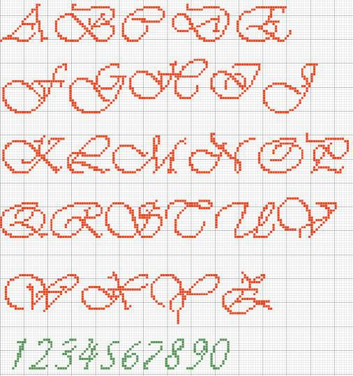 Lettere Alfabeto Corsivo Minuscolo: Alfabeto-para-bordar-vivaldi-maiusculo : Revista Artesanato