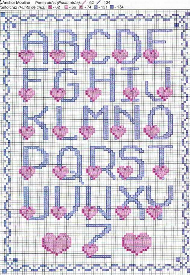 Alfabeto ponto cruz cora o revista artesanato for Lettere alfabeto punto croce per bambini