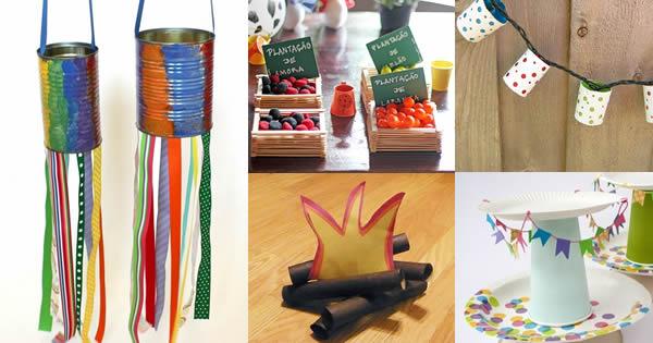 13 Ideias de Decoraç u00e3o de Festa Junina Com Material Reciclável Revista Artesanato -> Decoração De São João Com Material Reciclado