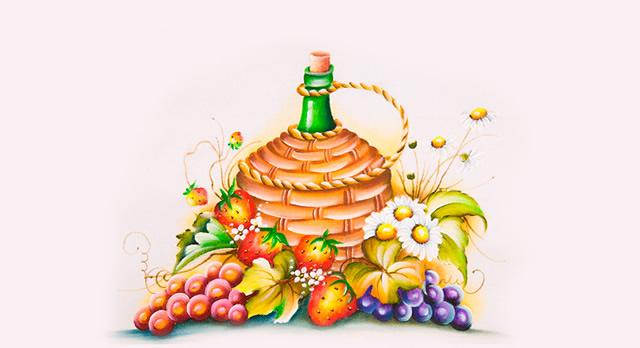 pintura-em-tecido-garrafa-e-frutas