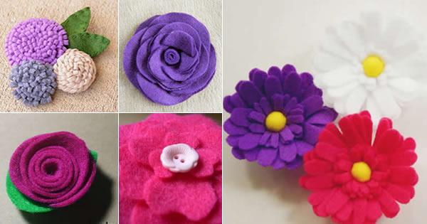 Aparador Para Sala ~ 5 Flores de Feltro Lindas u2013 Guia Completo Pra Voc u00ea Fazer Revista Artesanato