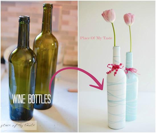 garrafa decorada com pintura simples