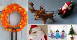 Como Fazer Enfeites de Natal em Feltro – 5 Modelos com Molde