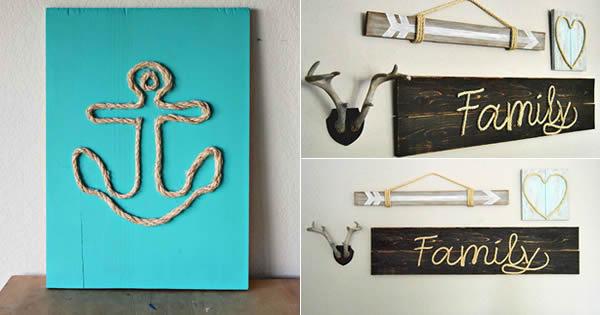 Aparador Azul Marinho ~ Quadros Decorativos com Corda de Sisal Passo a Passo