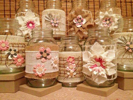 9 ideias de decora o de potes de vidro revista artesanato for Frascos decorados para navidad